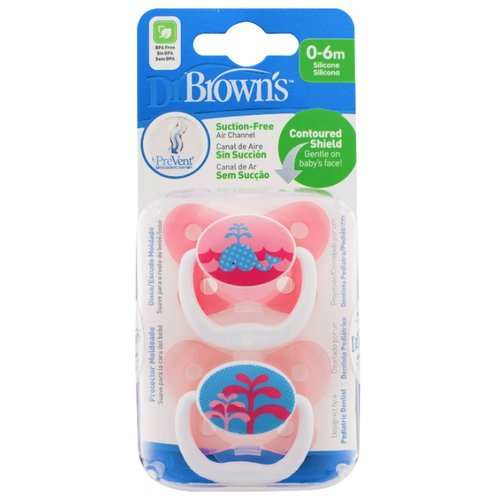 Пустышка силиконовая ортодонтическая Dr. Browns Prevent Contoured 0-6 м (2 шт.) розовый/китПустышки и аксессуары<br>