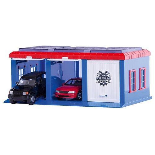 Купить Пламенный мотор Гараж Сити красный/голубой/белый, Детские парковки и гаражи
