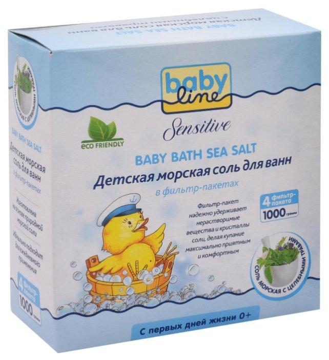 BabyLine Sensitive Морская соль для ванн с целебными травами 1000 г