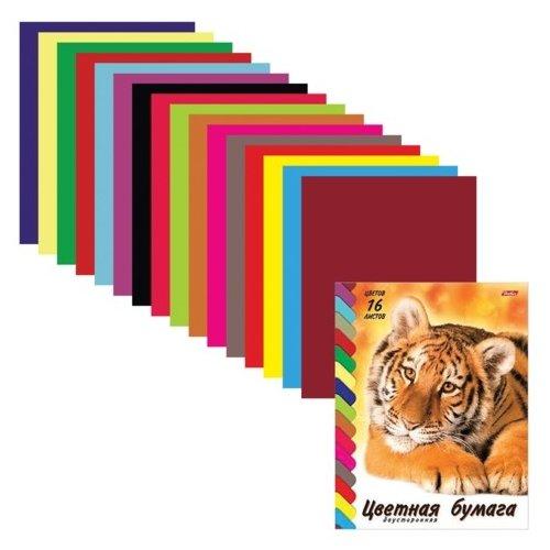 Цветная бумага VK Тигр Hatber, A4, 16 л., 16 цв.