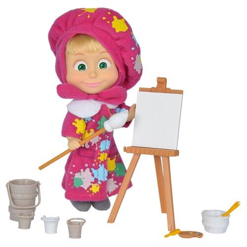Кукла Simba Маша и Медведь Маша в одежде художницы с набором для рисования, 12 см, 9302047