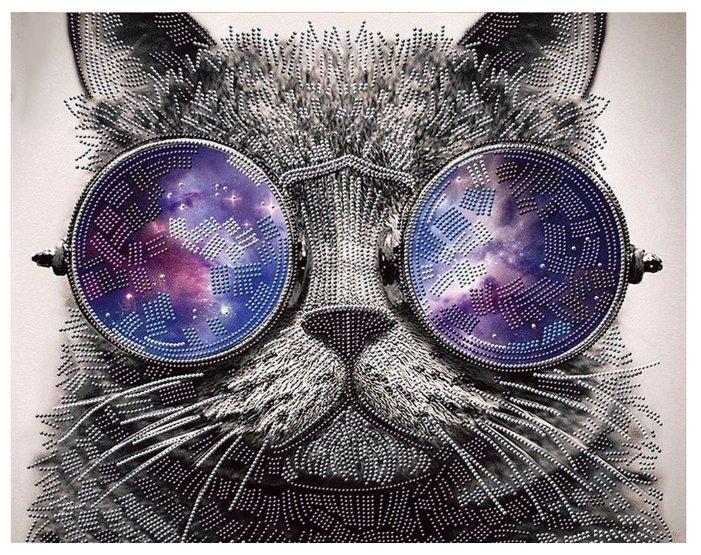 Алмазная живопись Набор алмазной вышивки Кот в очках (АЖ-3003) 50х40 см