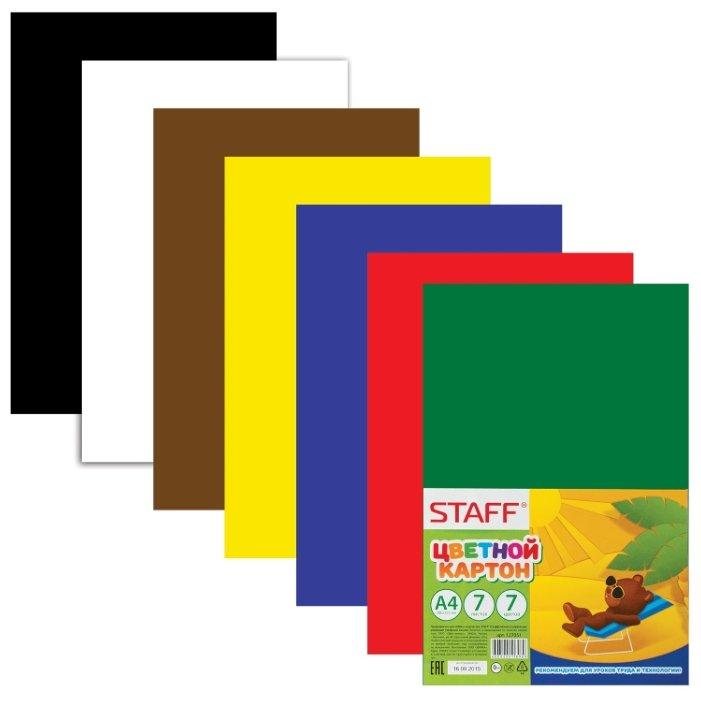 Цветной картон STAFF, A4, 7 л., 7 цв.