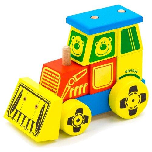Купить Каталка-игрушка Alatoys Трактор большой (КТР01) желтый/голубой/красный, Каталки и качалки