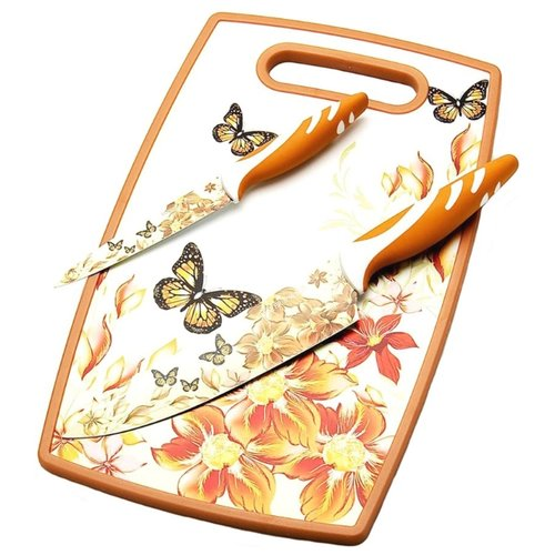 Набор MAYER & BOCH 2 ножа и разделочная доска 23312 белый / оранжевый / красныйНаборы ножей<br>