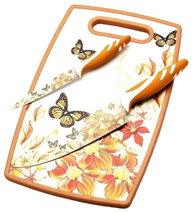 Набор MAYER & BOCH 2 ножа и разделочная доска 23312 белый / оранжевый / красный