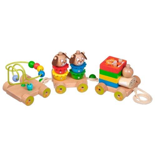 Купить Каталка-игрушка Мир деревянных игрушек Паровозик Чух-Чух №1 (Д419) коричневый/желтый, Каталки и качалки