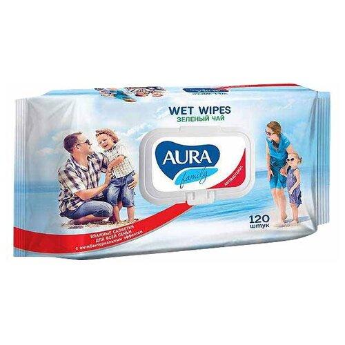 Влажные салфетки Aura Family с антибактериальным эффектом