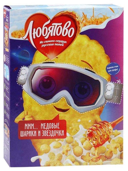 Готовый завтрак Любятово Медовые шарики и звёздочки, коробка