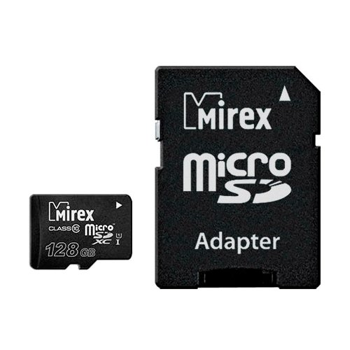 Фото - Карта памяти Mirex microSDXC Class 10 UHS-I U1 + SD adapter 128 GB, чтение: 45 MB/s, запись: 25 MB/s, адаптер на SD карта памяти adata 256gb microsdxc class 10 uhs i a1 100 25 mb s sd адаптер ausdx256guicl10a1 ra1