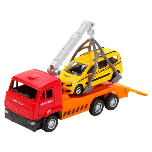 Купить Набор машин ТЕХНОПАРК КамАЗ эвакуатор с Lada Largus Такси (SB-17-24-C-WB) оранжевый/желтый/красный, Машинки и техника