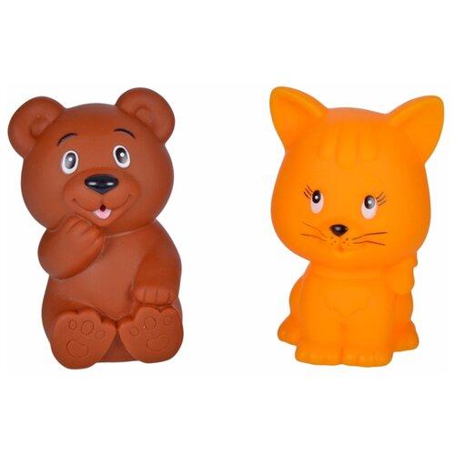 Купить Набор для ванной Жирафики Мишка и котенок (681270) коричневый/оранжевый, Игрушки для ванной