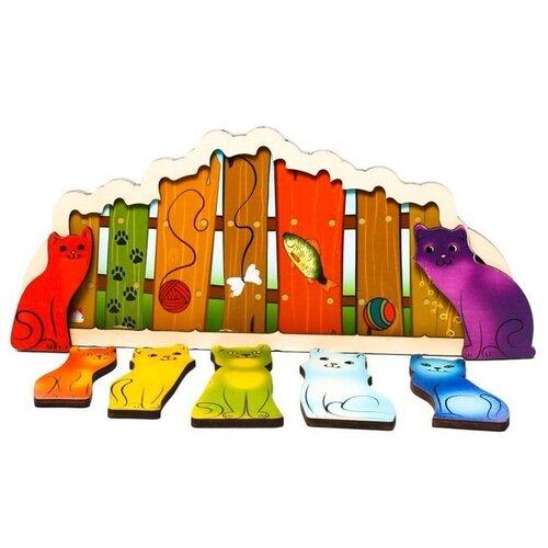 Рамка-вкладыш Нескучные игры Разноцветные котята (7932), 7 дет. рамка вкладыш нескучные игры больше меньше геометрия