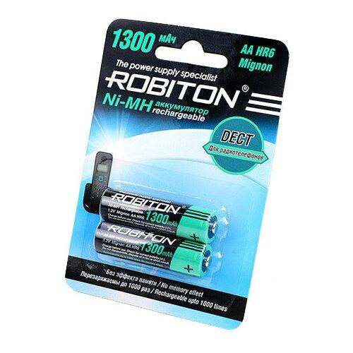 Фото - Аккумулятор Ni-Mh 1300 мА·ч ROBITON DECT AA HR6 Mignon 1300, 2 шт. аккумулятор ni mh 200 ма·ч robiton 9v крона 6f22 200 1 шт