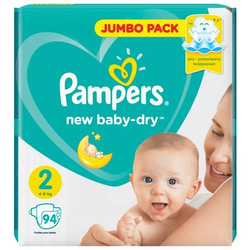 Pampers подгузники New Baby Dry 2 (4-8 кг) 94 шт. pampers подгузники pampers new baby dry 4–8 кг размер 2 94 шт