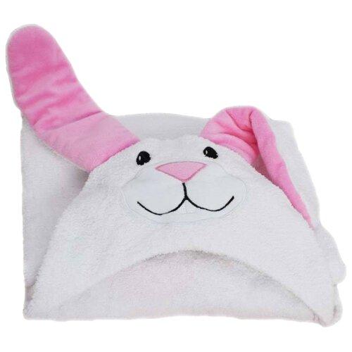 BabyBunny Полотенце Зайчик с розовыми ушками банное 65х125 см белыйПолотенца<br>