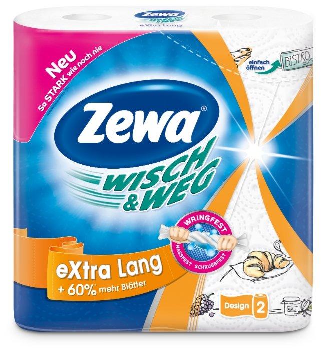 Полотенца бумажные Zewa Wish&Weg белые с рисунком двухслойные, 2 рул.
