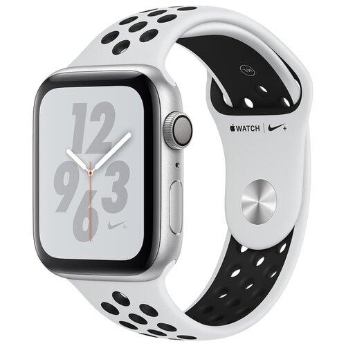 Часы Apple Watch Series 4 GPS 40mm Aluminum Case with Nike Sport Band серебристый/чистая платина/черныйУмные часы и браслеты<br>