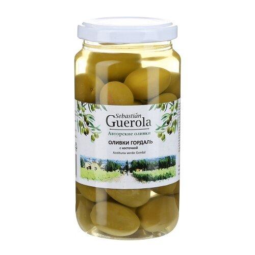 Sebastian Guerola Оливки Гордаль с косточкой в рассоле, стеклянная банка 370 гМаслины, оливки, каперсы консервированные<br>
