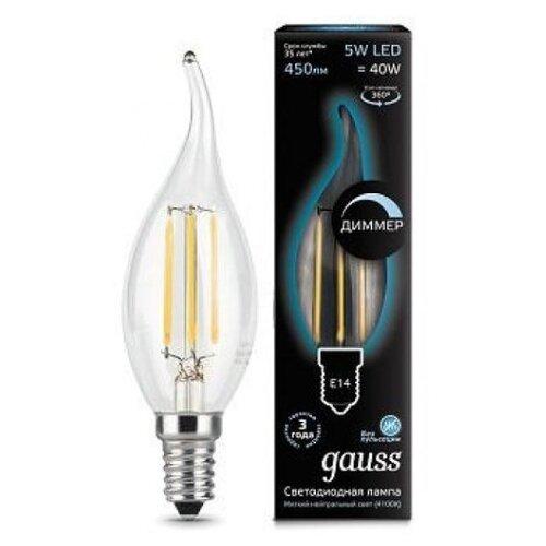 Лампа светодиодная gauss 104801205-D, E14, CA35, 5Вт лампа светодиодная gauss 101505205 d gu5 3 jcdr 5вт