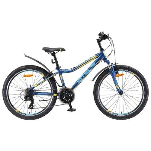 Фото - Подростковый горный (MTB) велосипед STELS Navigator 410 V 24 21-sp V010 (2019) темно-синий/желтый 13 (требует финальной сборки) горный mtb велосипед stels miss 5000 md 26 v010 2019 бирюзовый 17 требует финальной сборки