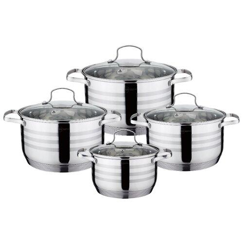 Набор кастрюль Rainstahl 1955-08RS/CW 8 пр. стальной набор посуды rainstahl цвет стальной 12 предметов 1227 12rs cw