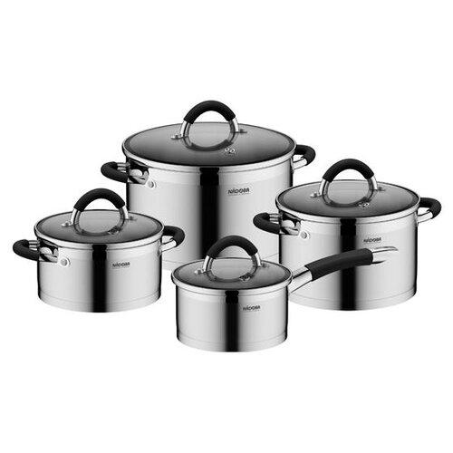 Набор посуды Nadoba Olina 726419 8 пр. серебристый/черный