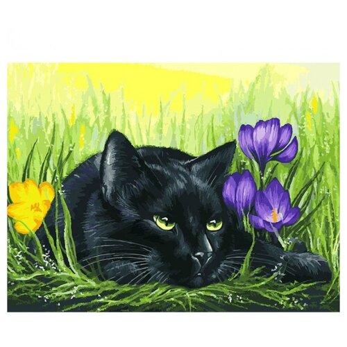 Купить Белоснежка Картина по номерам Кот и крокусы 30х40 см (113-AS), Картины по номерам и контурам