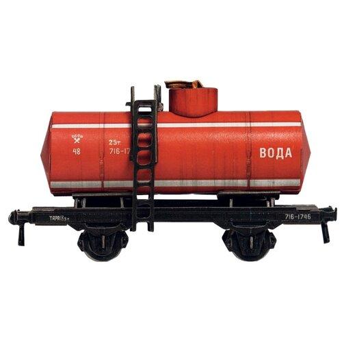 Сборная модель Умная Бумага Двухосная цистерна 25 м3 вода (красная) (386-3) 1:87