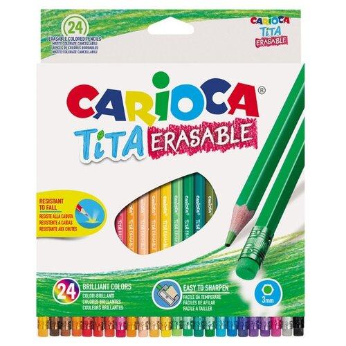 Купить Carioca набор цветных карандашей Tita Erasable 24 цвета (42938/24), Цветные карандаши