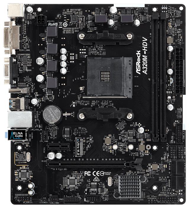 Материнская плата ASROCK A320M-HDV R3.0, SocketAM4, AMD A320, mATX, Ret