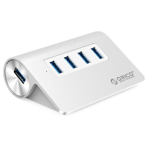 USB-концентратор ORICO M3H4, разъемов: 4, серебристыйUSB-концентраторы<br>