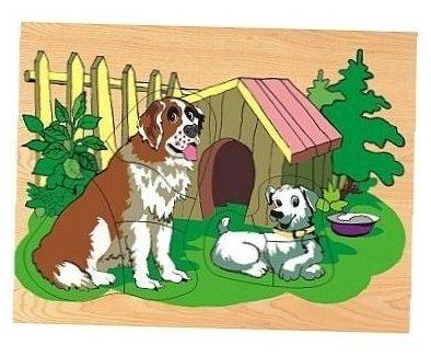 Рамка-вкладыш Wooden Toys Собака и щенок (D122), 7 дет.