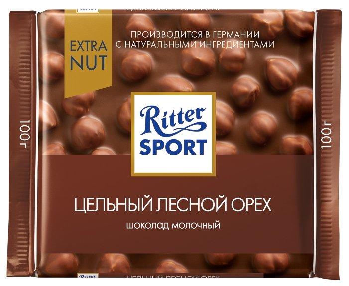 Шоколад Ritter Sport Extra Nut молочный цельный лесной орех, 30% какао