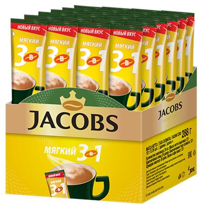 Растворимый кофе Jacobs 3 в 1 Мягкий, в стиках