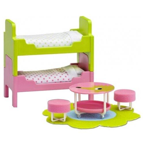 Купить Lundby Набор мебели для детской Смоланд (LB_60206600) салатовый/розовый, Мебель для кукол