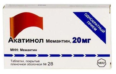 Акатинол Мемантин таб. п/о плен. 20 мг №28