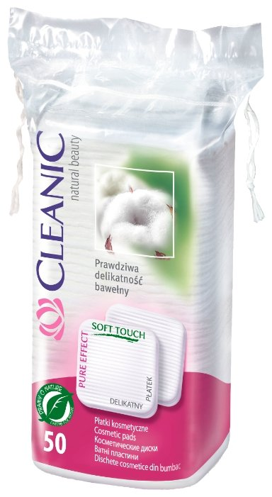 Ватные диски Cleanic Pure effect квадратные 50 шт. пакет