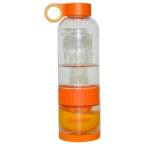 Бутылка для воды, для безалкогольных напитков VANI VL1 0.65 стекло, пластик, силикон оранжевый