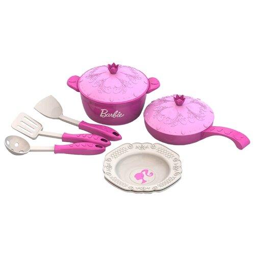 Купить Набор посуды Нордпласт Барби 637 розовый, Игрушечная еда и посуда