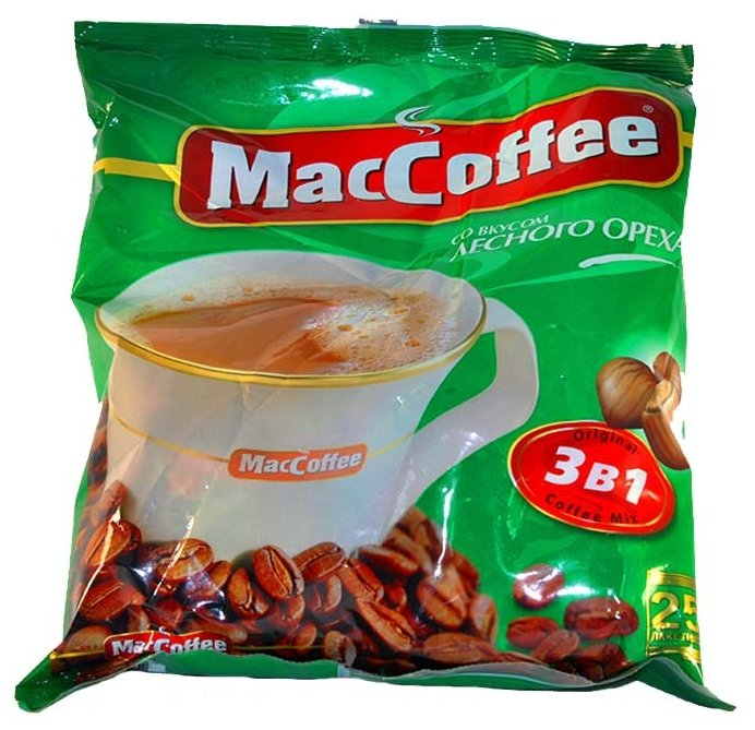 Растворимый кофе MacCoffee Лесной орех 3 в 1, в пакетиках