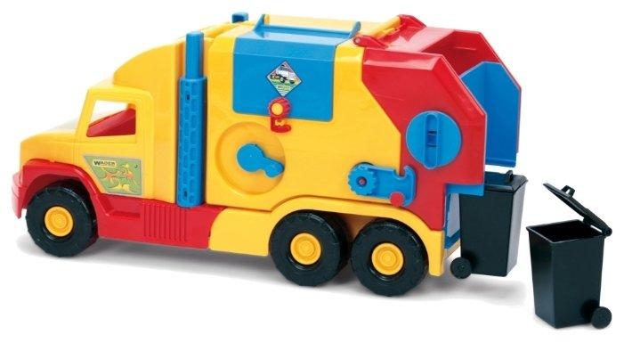 Мусоровоз Wader Super Truck малый (36580) 60 см желтый/красный/голубой