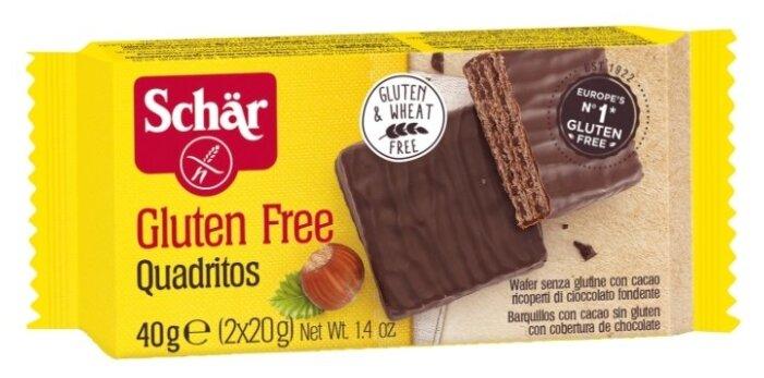 Вафли с какао Dr.Schär Quadritos в темном шоколаде, 40 г.