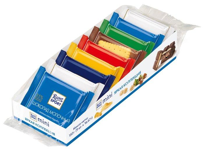 "Шоколад Ritter Sport Набор мини-шоколада ""Яркая коллекция"" 7 вкусов (16,7г x 9)"