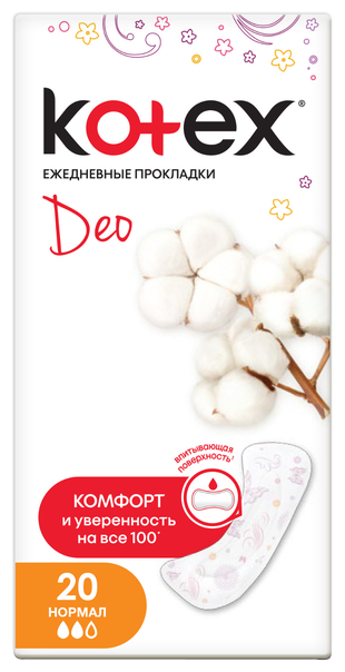 Прокладки Котекс Colors Normal Deo, 20 шт