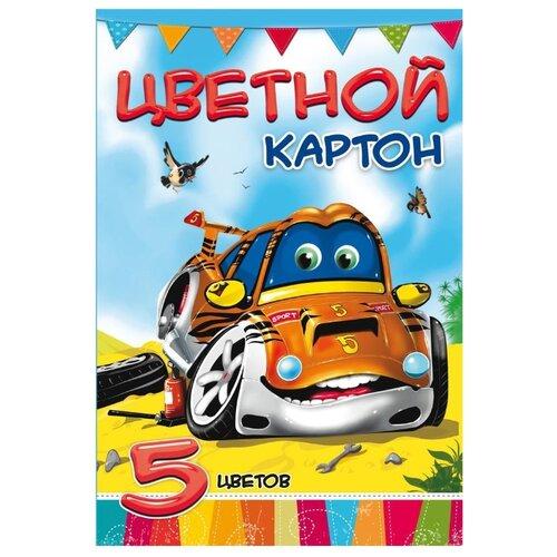 Купить Цветной картон Супертачка Проф-Пресс, A4, 5 л., 5 цв., Prof-Press, Цветная бумага и картон