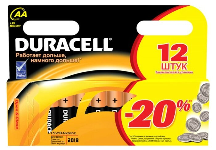 Батарейка AA Duracell LR6-12BL BASIC