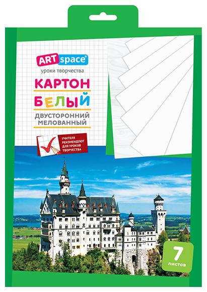 Картон белый двусторонний A4, ArtSpace, 7л., мелованный, в папке с европодвесом