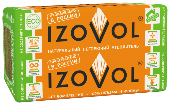 Каменная вата IZOVOL Л-35 1000x600х100мм 4 шт