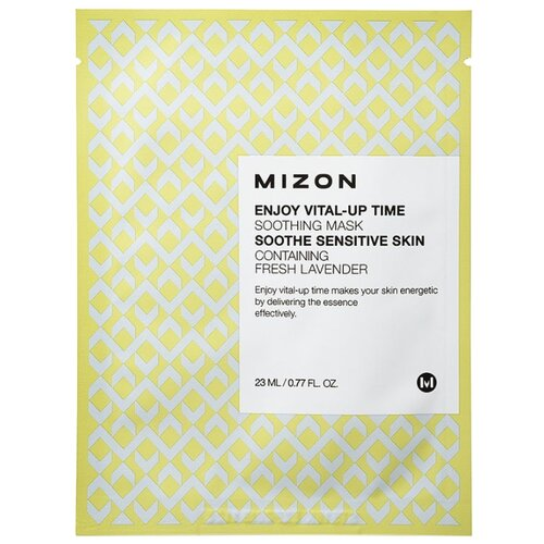 Mizon Enjoy Vital-Up Time Soothing Mask успокаивающая тканевая маска, 23 мл тканевая маска mizon bio collagen ampoule mask объем 27 мл